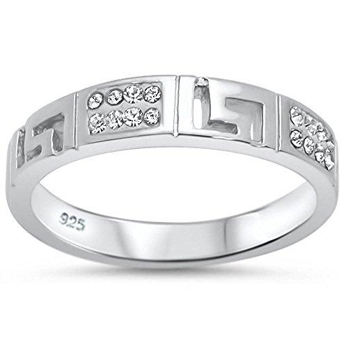 Oxford Diamond Co Sterling Silver Greek Key Cubic Zirconia Band Ring Sizes 6