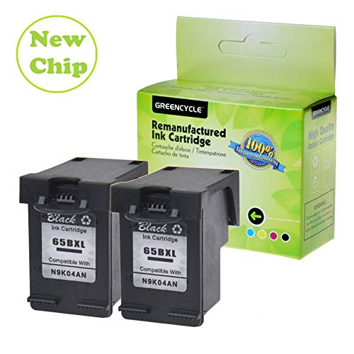 GREENCYCLE Re-Manufactured 65XL 65BXL Ink Cartridge Replacement for HP Envy 5058 5055 5052 Deskjet 2622 2624 2652 2655 3752 3755 3758 3720 3721 3730 Printers, with New Version chip (Black,2 Pack) -  GREENCYCLE TECH INC, M-65BXL-2PK