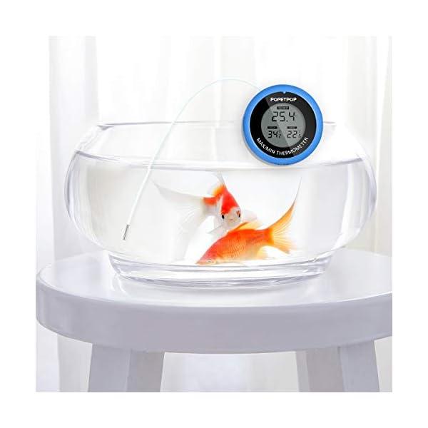 POPETPOP LCD Digital Aquarium Thermometer High Precision Digital Fish Tank Thermometer for Aquarium/Pond/Reptile Turtles Habitats (Blue) 9