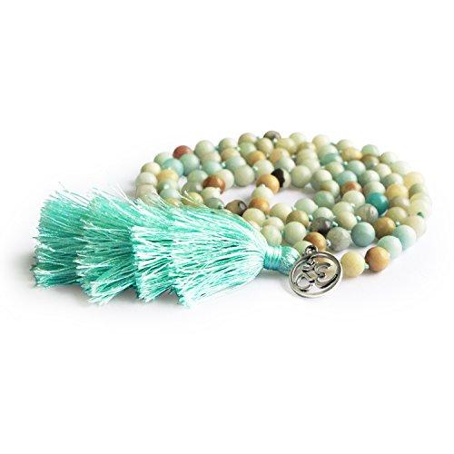 MHZ JEWELS Amazonite 108 Mala Beads Layered Tassel Necklace Bracelet Yoga Prayer Spirit Long Necklace for Women by MHZ JEWELS (Image #1)
