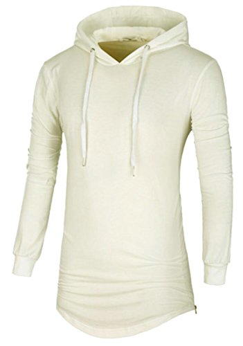 amp;W amp;S Hipster Side Hip Shirt Hooded Long White Zipper T Sleeve Mens Loose Hop M x4HnZqq