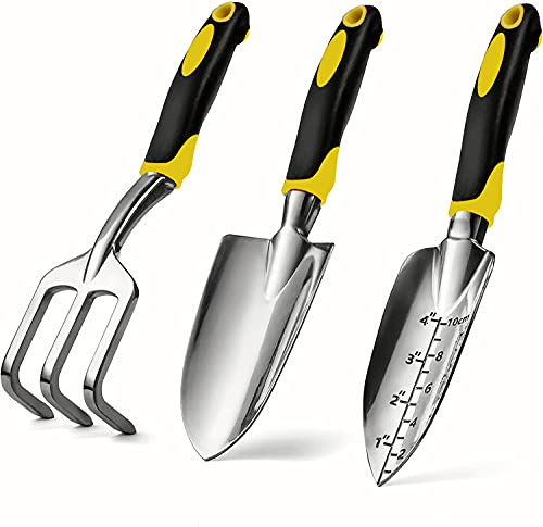 REKALEADER Garden Tool Set, 3 Pcs Garden Tool Kits, Trowel, Transplanter and Cultivator, Aluminum Alloy Hand Garden Tool…