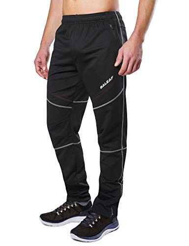 (Baleaf Men's Bike Cycling Pants Winter Running Windproof Fleece Thermal Pants Multi Sports Active Size XL)