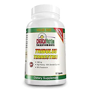 Tribulus Terrestris Extract 1000 mg. 95% Steroidal Saponins, 80% Protodioscin, 90 Count, 3 Month Supply Natural Testosterone Booster and Athletic Performance Supplement