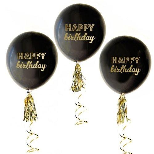 Black Birthday Balloons tassel banner product image