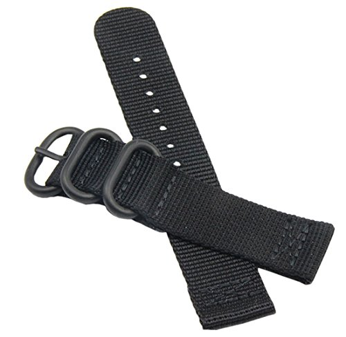 20mm Black High-end Superior Nato style Ballistic Nylon Watch Band Strap Replacement for Men Braided