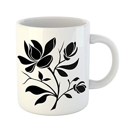 (Emvency Coffee Tea Mug Gift 11 Ounces Funny Ceramic White Black Silhouette of Magnolia Flowers on Graphic Gifts For Family Friends Coworkers Boss)