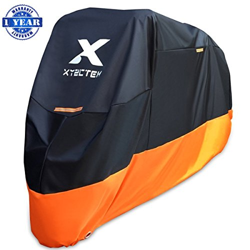 (XYZCTEM Motorcycle Cover - All Season Waterproof Outdoor Protection - Fit up to 116 inch Tour Bikes, Choppers and Cruisers - Protect Against Dust, Debris, Rain and Weather(XXXL,Black& Orange))