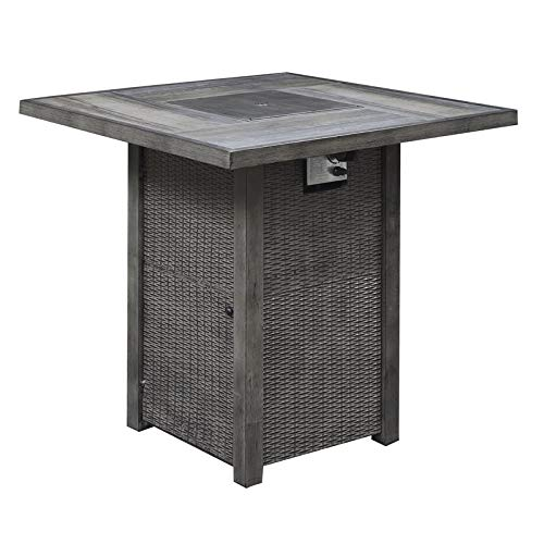 Pemberly Row Kivimaa Brown Gray 42'' Square Fire Pit Pub Table by Pemberly Row