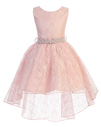 High Low Lace Dress Rhinestones Belt Pageant Flower Girl Dress Blush Pink Size 6 ()