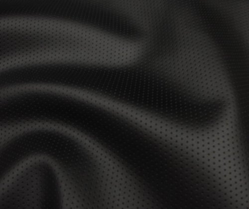 Black Perforated Commercial Marine Grade Upholstery Vinyls Faux Leather Fabric Per Yard