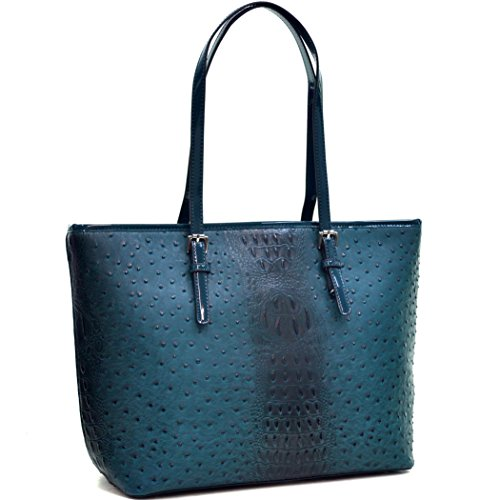 Patent Leather Logo Handbag (Dasein Women's Large Zip Top Multifunction Buckle Tote Bag Shoulder Purse Handbag 2591 Teal Blue)