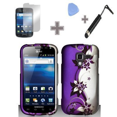 4-Items-Combo-Case-Screen-Protector-Film-Case-Opener-Stylus-Pen-Rubberized-Purple-Silver-Vines-flower-Snap-on-Design-Case-Hard-Case-Skin-Cover-Faceplate-for-Samsung-Galaxy-Exhilarate-i577-ATT