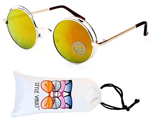 V164-vp Style Vault Round Metal Steampunk Sunglasses (L3138E Gold-Sunset Gold Mirror, - Flip Sunglasses Shade
