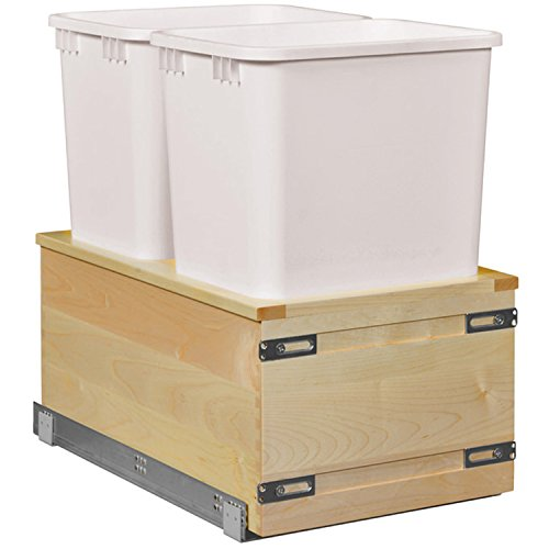 (Century Components SIGBM17PF-50 Kitchen Pull Out Waste Bin Container - 50 Qt White Double - Maple - Soft Close Bottom Mount, 17-7/8