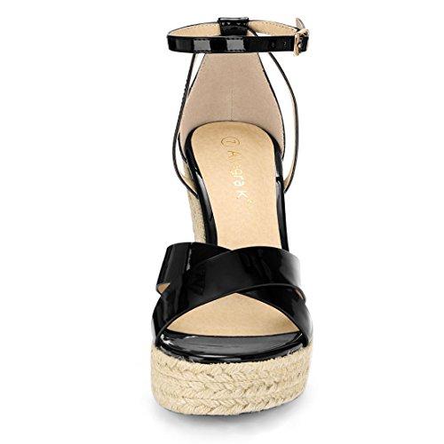 K Ankle Strap Allegra Black Wedges Espadrille Women d18qxHn