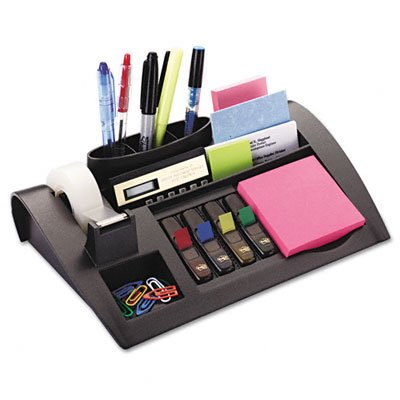 Notes Dispenser w/Weighted Base, Plastic, 11-7/8 x 2-1/2 x 7-3/4, GY ()