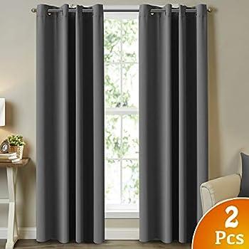Amazon Com Microfiber Blackout Grey Curtains For Patio