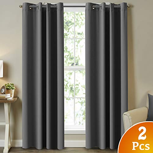 (Blackout Draperies Curtains Panels 84 Inch Window Treatment Grommet Blackout Curtains/Panels/Drapes for Living Room Three Pass Microfiber Room Darkening Curtains (2 Panels, Charcoal Gray))