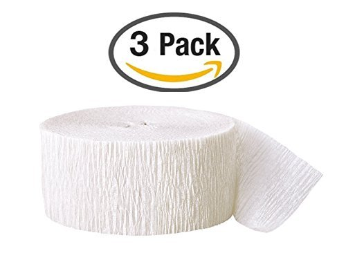 White Streamer (Crepe Party Streamer, 81 Feet, (Pack of 3))