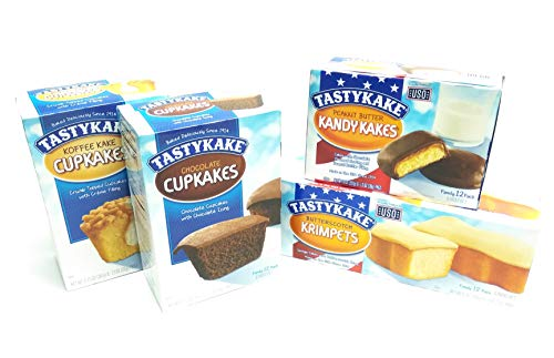 (Tastykake Snack Cakes Philadelphia Favorites Pack | 4 Boxes | Butterscotch Krimpets, Peanut Butter Kandy Kakes, Chocolate Cupcakes, Cream Filled Koffee Cupcakes )