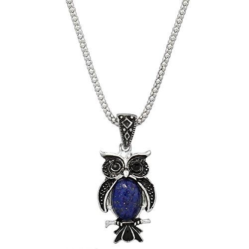 Bird Lazuli Lapis (Liavy's Owl Charm Pendant Fashionable Gemstone Necklace - 17