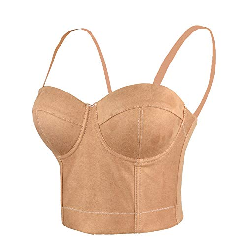 (ELLACCI Faux Suede Leather Bustier Crop Top Push Up Women's Corset Top Bra Brown X-Small)