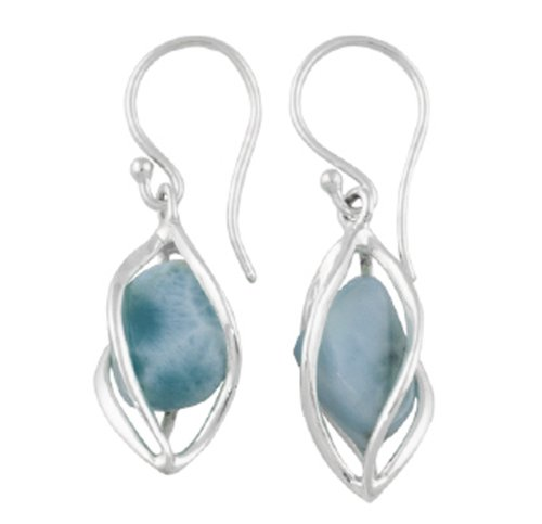 Starborn Creations Sterling Silver Caged Larimar Earrings ()
