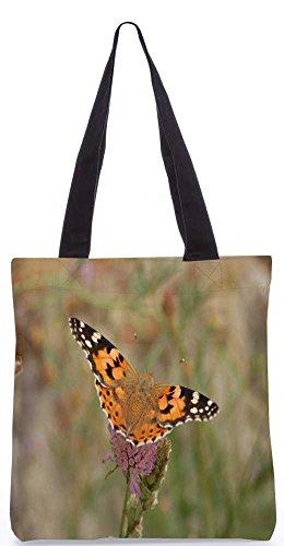 Snoogg Tiger Schmetterling Tragetasche 13,5 X 15 In Shopping-Dienstprogramm Tragetasche Aus Polyester Canvas