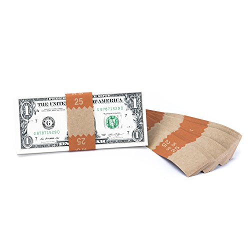 Natural Kraft Saw-Tooth $25 Currency Band Bundles (10000 Bands)
