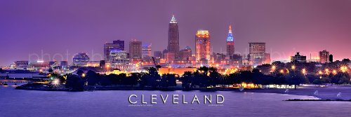 Cleveland Skyline PHOTO PRINT UNFRAMED NIGHT Color City Down