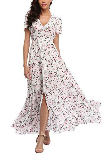 V fashion Women's Floral Maxi Dress Button Up Split Summer Boho Long Beach Dress