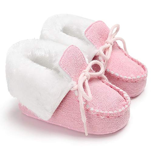 Fnnetiana Strappy Baby Snow Boots Winter Babies Add Fluff Shoes Soft Sole Shoes Winter Warm Toddlers Prewalker Crib Shoe
