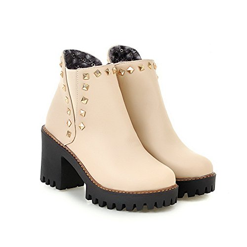 AgooLar Solid Rivet Boots PU Closed with Zipper Women's Round Heels Beige Toe High RRrPxf
