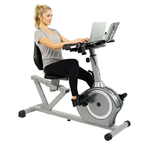 Sunny Health & Fitness Magnetic Recumbent Desk Exercise Bike, 350lb High Weight Capacity, Monitor - SF-RBD4703 (Best Bike Trainer 2019)