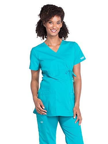 Cherokee WW Professionals WW685 Maternity Mock Wrap Top Teal Blue XS