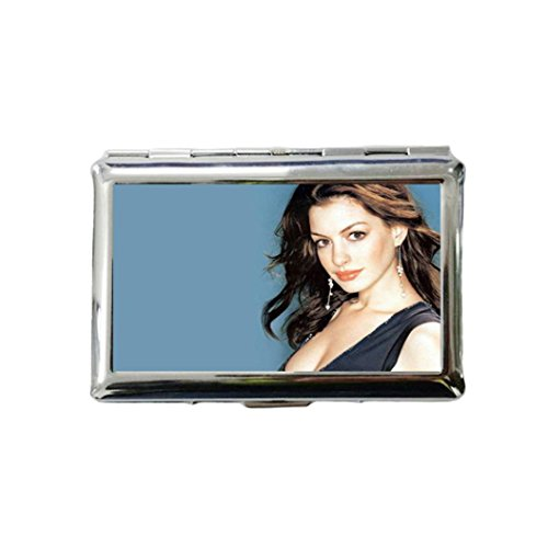 Anne Hathaway Custom Style Classic Metallic Silver Color Stainless Steel ID Cigarette Case Holder Credit Card RFID Protective Security - Hathaway Anne Style