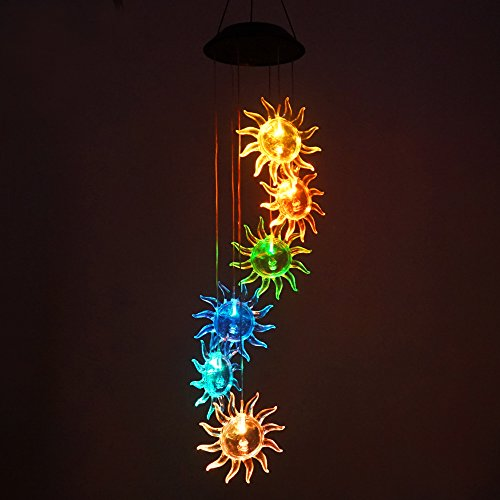Sunflower Color Changing Solar Light Wind Chimes, Multi-color solar mobile Wind Spinner outdoor garden pation yard garland decoration by Yeyo
