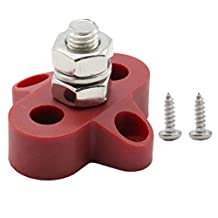 Vosarea M8 6-48V Single Terminal Stud Heavy Duty Power Distribution Block for Car Boat (Red)