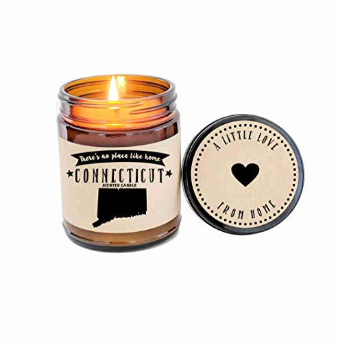 Connecticut Scented Candle Missing Home Homesick Gift Moving Gift New Home Gift No Place Like Home State Candle Gift Valentines Day Gift
