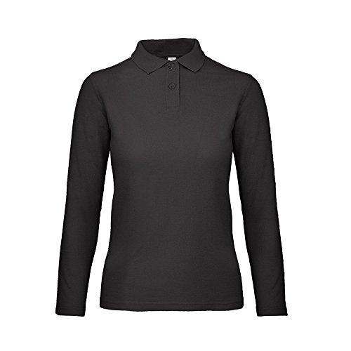 B&C ID.001 Womens/Ladies Long Sleeve Polo (L) (Jet Black)