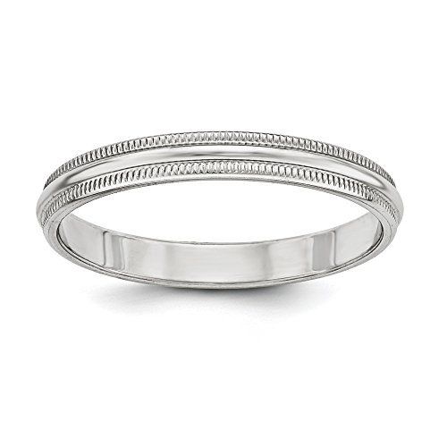 Forever Flawless Jewelry 3mm High Polish Finish Half Round Domed Milgrain Sterling Silver Wedding Band - Size 5.5