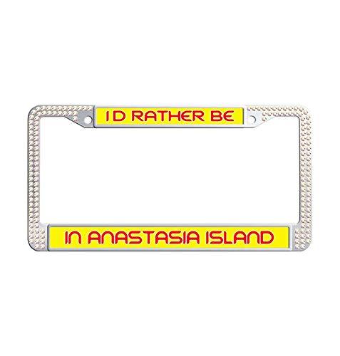 Hensonata Colorful Rhinestone License Plate Frame, I'D Rather Be In Anastasia Island Sparkle Plate Frame Screw Cap Covers, Diamond Car Accessory, Sparkle Car D¨¦cor, Sparkle Bling License Plate ()