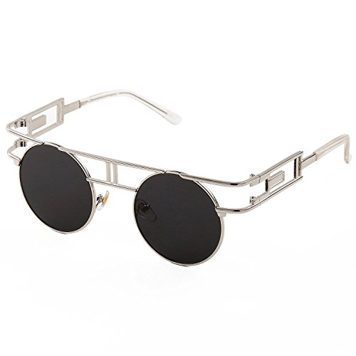 SojoS Retro Vintage Style Gothic Steampunk Flash Mirror Reflective Circle Sunglasses With Silver Frame/Black - Free Lenses Shipping Circle Cheap