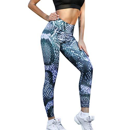 (CUCUHAM Women High Waist Yoga Snake Print Legging Running Sports Pants Trouser(Blue,X-Large))