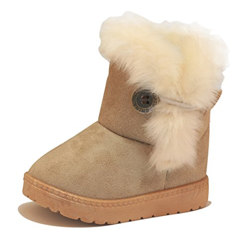 JIASUQI Fashion Winter Snow Ankle Shoes Fur Boots Kid Girls Light Brown 3.5 Big (Girls Faux Fur Boots)