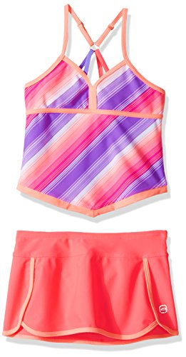 Free Country Big Girls' Stripe Tankini with Adj Back Straps & Bottom Brief, Calypso Coral, 7