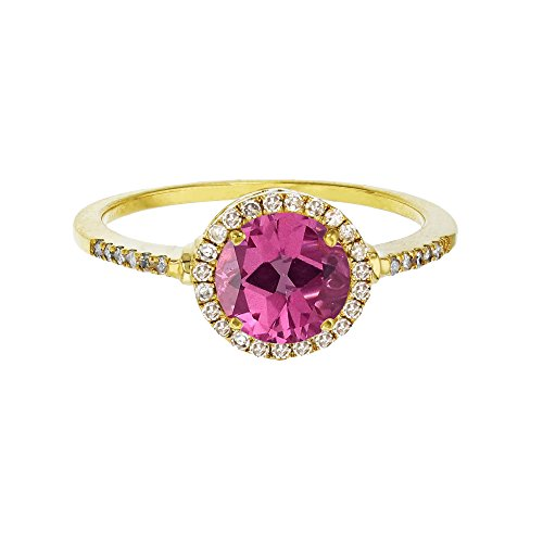 Sterling Silver Yellow 7mm Round Pure Pink Topaz & Created White Sapphire Halo Ring
