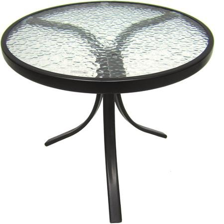 Mainstays Round Outdoor Glass Top Side Table Tables