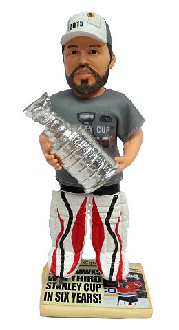 Corey Crawford Chicago Blackhawks Real Fabric Champ T-Shirt/Champ Hat Newspaper Base 2015 Stanley Cup Champions Exclusive BobbleHead #/500 -